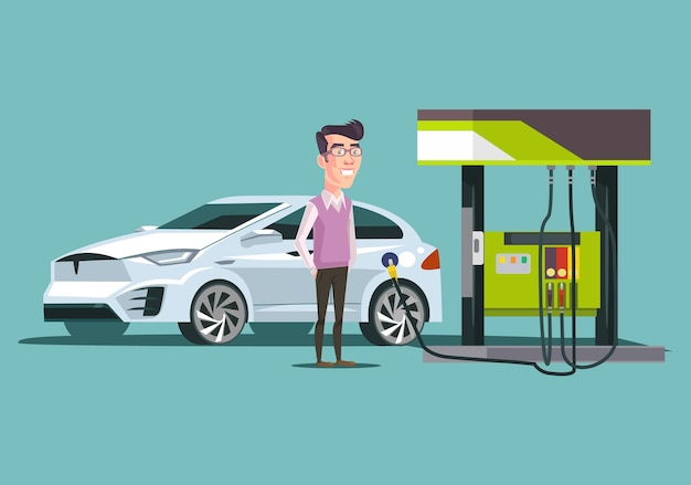 Stacja benzynowa i szczęśliwy uśmiechnięty charakter człowieka konsumenta. ilustracja kreskówka płaski wektor