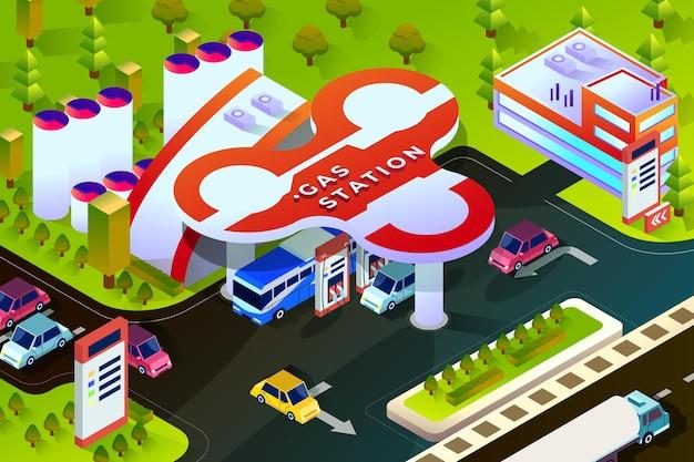 Stacja benzynowa - ilustracja izometryczna