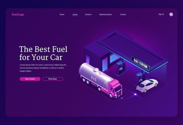 Stacja benzynowa izometryczna strona docelowa tankowania samochodów