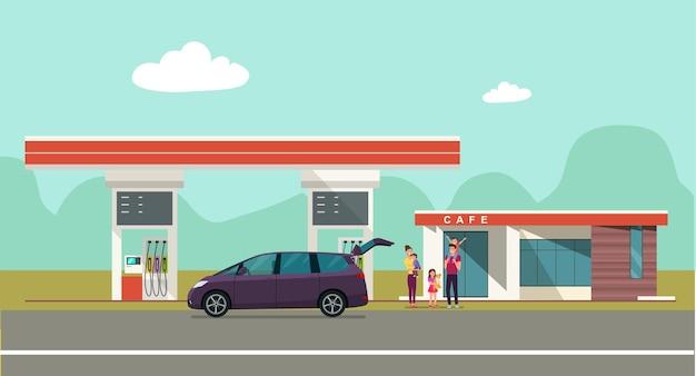 Stacja benzynowa na tle krajobrazu wsi. ilustracji wektorowych.