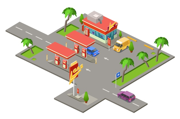Stacja benzynowa, samochody na stacji tankowania stacji benzynowej