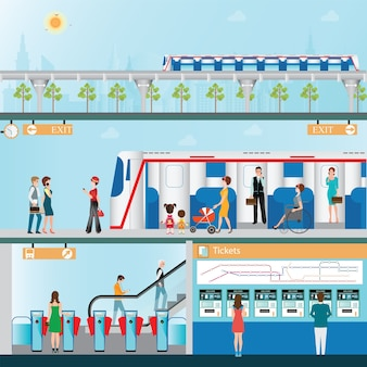 Stacja kolejowa sky z ludźmi