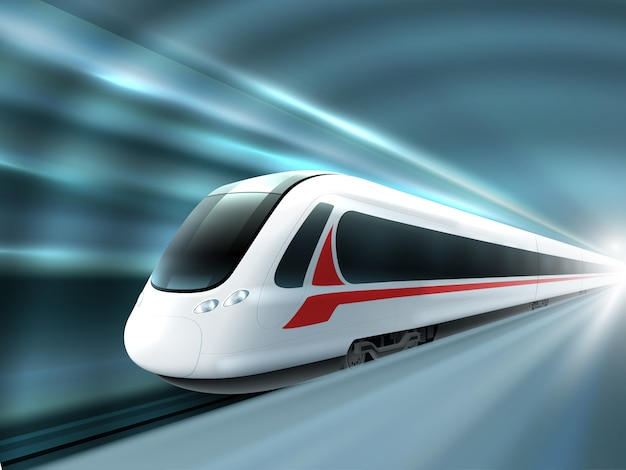 Stacja kolejowa speed train realistic poster