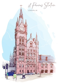 Stacja kolejowa st. pancras, londyn, wielka brytania. szkic akwarela