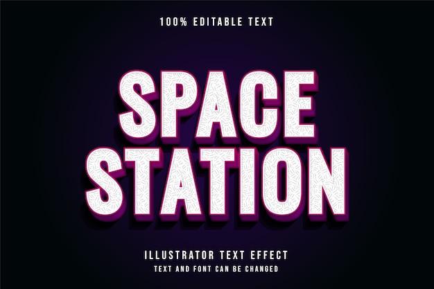 Stacja kosmiczna, 3d edytowalny styl tekstu różowy gradacja fioletowy