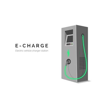 Stacja ładująca do samochodu elektrycznego. e-opłata. koncepcja zielonej energii lub eko.