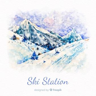 Stacja narciarska akwarela