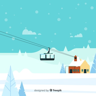 Stacja narciarska płaski ilustracja