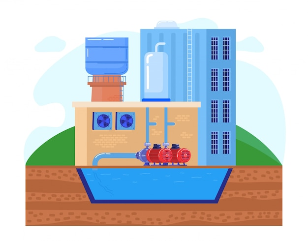 Stacja pomp wody w ilustracji fabryki przemysłowe, kreskówki płaskie pompy przemysłu pobierają czystą wodę ze zbiornika zbiornika