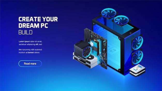 Stacja robocza do gier i ilustracja komponentów komputera górniczego