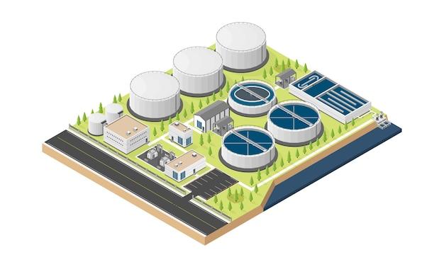 Stacja uzdatniania wody, stacja uzdatniania wody w grafice izometrycznej