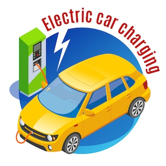 Stacje benzynowe uzupełniają izometryczną ilustrację ładowanym samochodem elektrycznym obrazami stacji ładowania e-mobilności