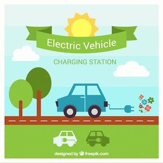 Stacji ładowania samochodów elektrycznych wektor
