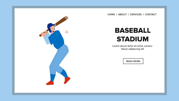 Stadion baseballowy do gry sportowej wektor. na stadionie baseballowym grając profesjonalnego gracza z drewnianym kijem i piłką. postać uderzania akcji na ilustracja kreskówka płaskie w sieci web
