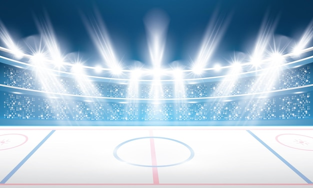 Stadion hokejowy z reflektorami.