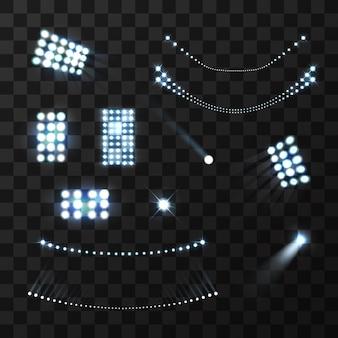 Stadion niebieskie światła i lampy realistyczny zestaw na białym tle