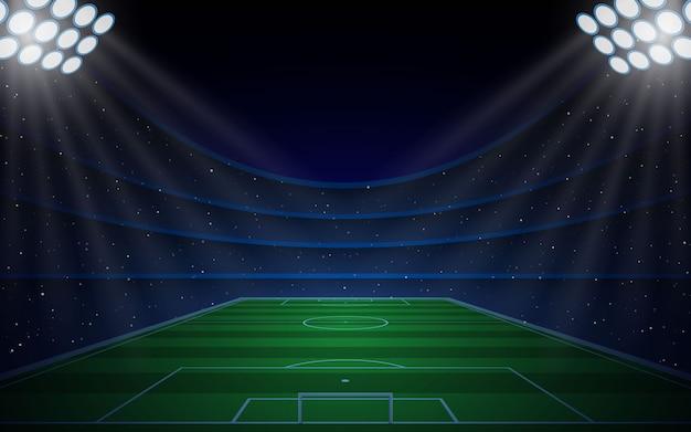 Stadion piłkarski z jasnymi światłami