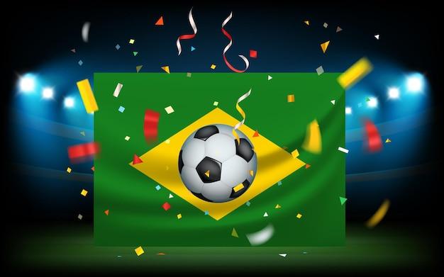 Stadion piłkarski z piłką i flagą. brazylia wygrywa