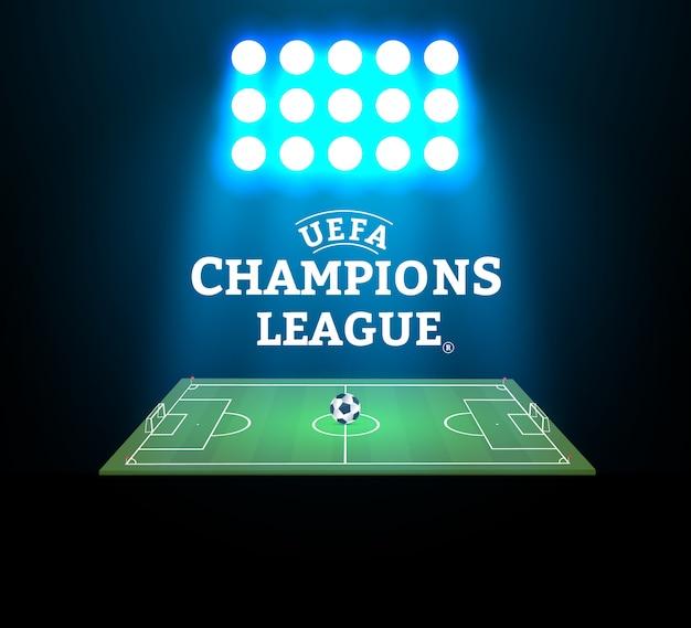 Stadion piłkarski z piłką na boisku i reflektorem