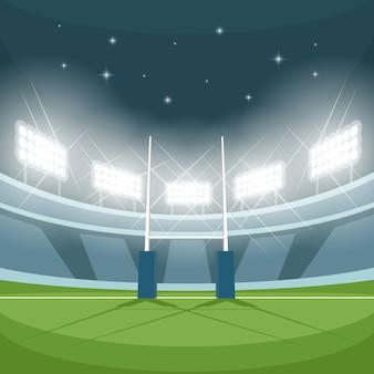 Stadion rugby ze światłami w nocy. światło nocne, gra i bramka, jasne reflektory, reflektory i ziemia,