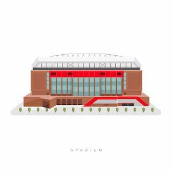 Stadion sportowy, stadion piłkarski. widok z przodu areny sportowej na zewnątrz.