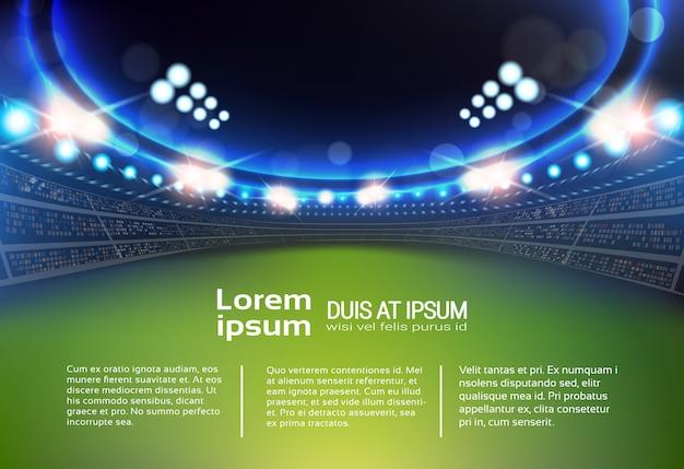 Stadion sportowy ze światłami i trybunami