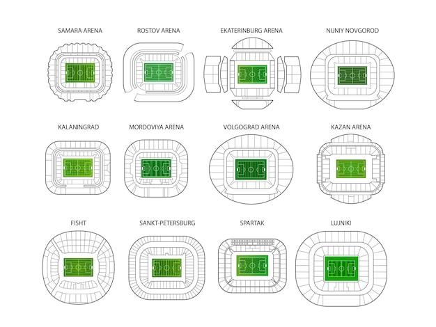 Stadiony Mistrzostw świata Premium Wektorów