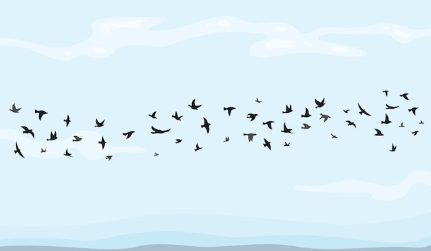 Stado latających ptaków ilustracji w kreskówce.