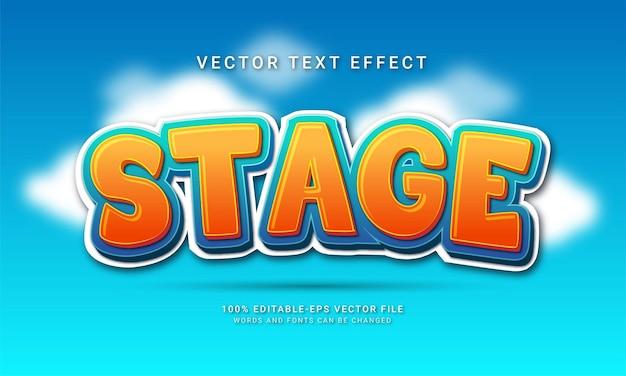 Stage 3d efekt stylu tekstu o tematyce stylu cartoon cartoon