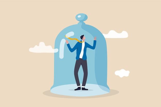 Stagnacja biznesowa bez wzrostu, przeszkody lub ograniczenia w rozwoju kariery, kara bez wolności w koncepcji biznesowej, przygnębiony biznesmen w więzieniu lub przykryty małą szklaną kopułą.