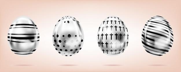 Stalowe jaja na różowym tle