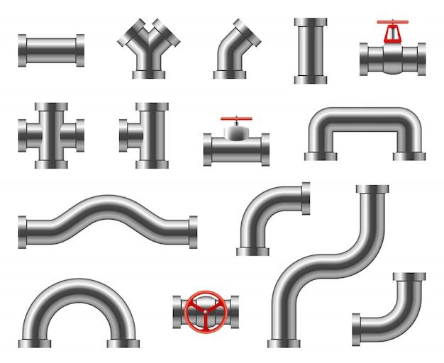 Stalowe rury. złącza rurociągów metalowych, armatura, zawory, hydraulika przemysłowa do wody i gazu wektor zestaw na białym tle