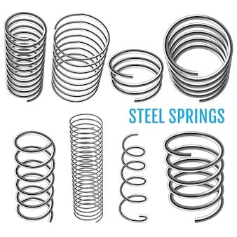 Stalowe sprężyny. zestaw sprężyn spiralnych.