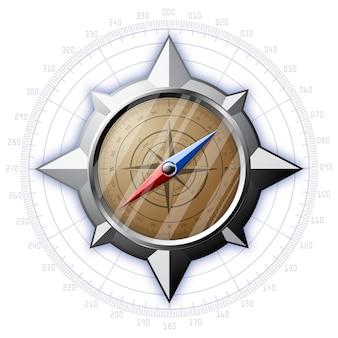 Stalowy kompas z ilustracją skali