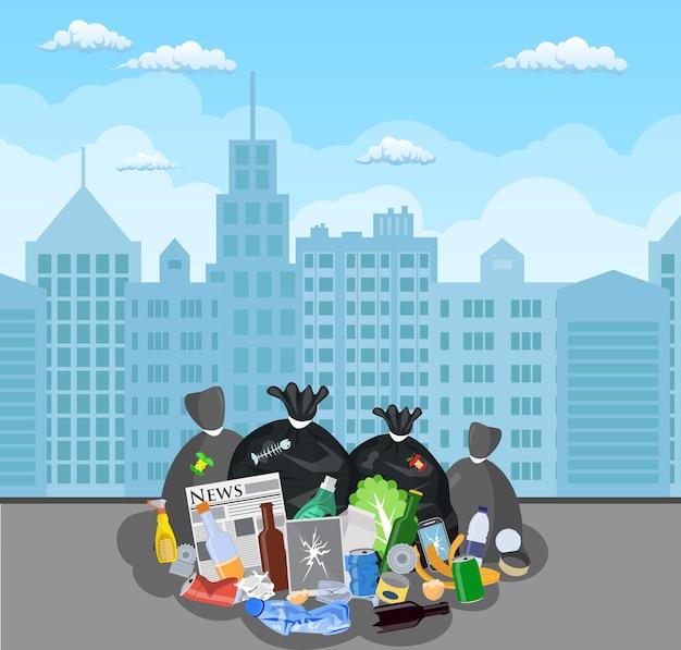 Stalowy kosz na śmieci pełen śmieci.