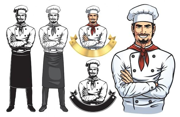 Stały mężczyzna chef full body