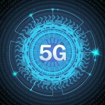Standard 5g nowoczesnej technologii transmisji sygnału. 5g nowe bezprzewodowe połączenie z internetem wi-fi. liczby przepływu kodu binarnego dużych danych.