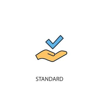 Standardowa koncepcja 2 kolorowa ikona linii. prosta ilustracja elementu żółty i niebieski. standardowa koncepcja projekt symbolu konspektu