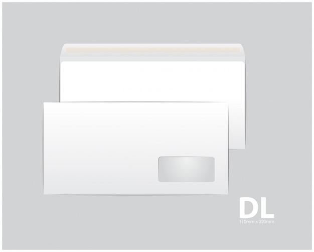 Standardowe białe koperty papierowe. na dokument lub list biurowy. pusty szablon. biała pusta koperta pocztowa z przezroczystym okienkiem. rozmiar dl, euro