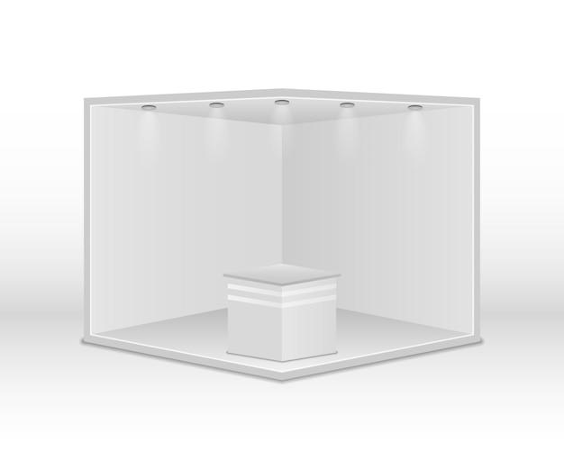 Standardowe stoisko z reflektorami. białe puste panele, stojak reklamowy. kreatywny projekt stoiska wystawowego na białym tle. prezentacja w sali konferencyjnej. ilustracja wektorowa, eps 10