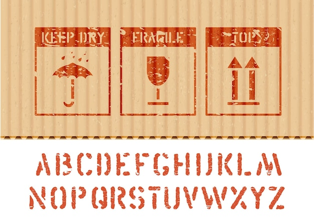 Standardowy ładunek grunge znaki pudełkowe i alfabet dla ładunku i logistyki parasol, szkło, strzałka w górę ikony na tekturze. wektor