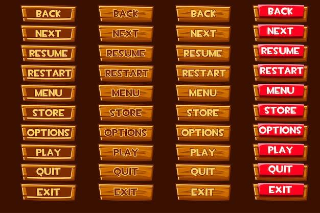 Standardowy zestaw drewnianych przycisków do gry ui