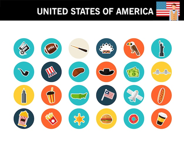 Stany zjednoczone ameryki koncepcja płaskie ikony