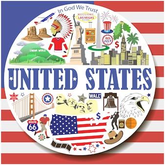 Stany zjednoczone okrągłe tło. ustawione płaskie ikony i symbole