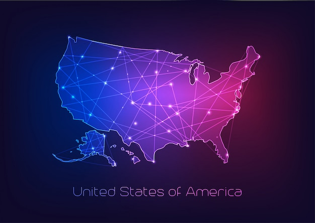 Stany zjednoczone zarys mapy usa z abstrakcyjnymi ramkami gwiazd i linii.