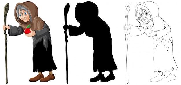Stara czarownica w kolorze i zarysie i sylwetka postać z kreskówki na białym tle