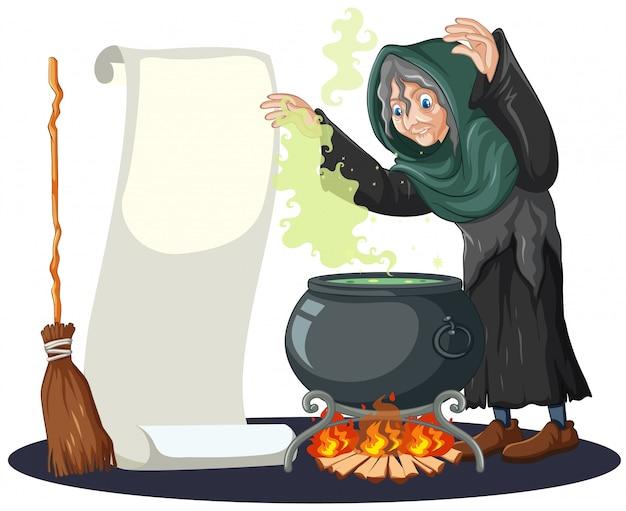 Stara czarownica z czarnej magii garnek i miotły i pusty transparent papier kreskówka styl na białym tle