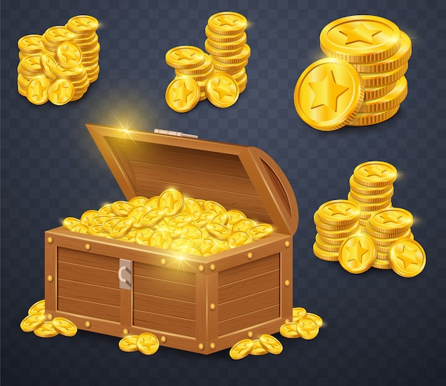 Stara drewniana klatka piersiowa z złocistymi monetami.