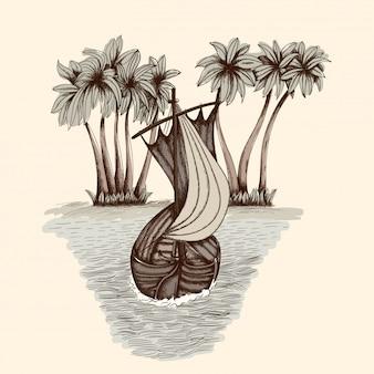 Stara drewniana łódź z masztem i żaglem na morskich falach. prosty rysunek odręczny.