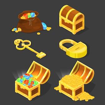 Stara drewniana skrzynia z skarbami, rocznika kluczem i kędziorkiem